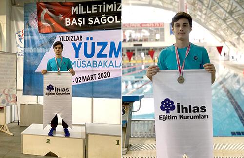 Okullar Arası Yıldızlar Yüzme Yarışmasında Üç Madalya