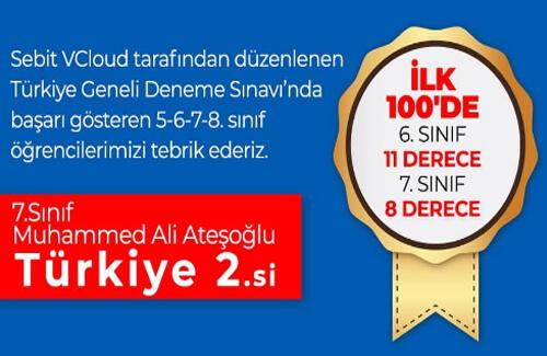 Sebit VCloud Deneme Sınavları'nda Türkiye İkinciliği